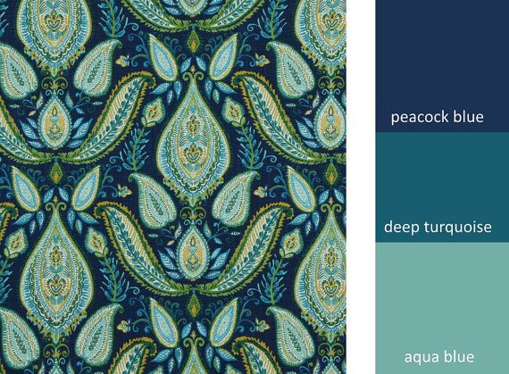 A contemporary paisley upholstery fabric in peacock blue, aqua, deep turquoise, citrus yellow, leaf green and white. This large scale design is printed on woven heavyweight cotton and can be used for furniture upholstery, drapery and bedding. Please use the drop down box for your choice of fabric by the yard, pillows or lined curtains. Scroll down to see item descriptions and links to the additional fabric colors shown above. FABRIC SAMPLES: Fabric Name for Sample Order: Pasadena Order…