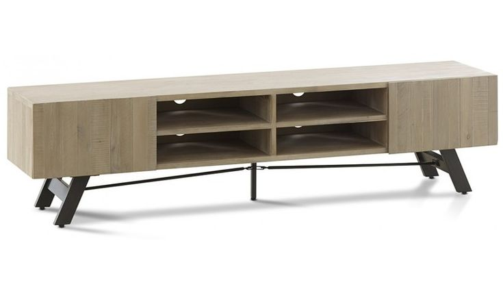 The modern Bari medium TV unit is featured in a blonde Acacia timber with clean lines and minimal detail and complimented by black slick metal legs. Very sleek and chic.