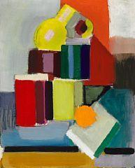 """849/745 - Vilhelm Lundstrøm: """"Opstilling. En appelsin, stabel af papirruller og en lille gul kande"""", 1943-44. Sign. på bagsiden VL. Olie på lærred. 74 x 60."""