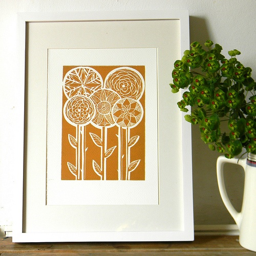 Five Flower Lino Print-Mustard  by Mangle Prints