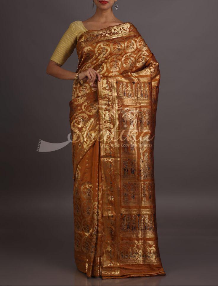 Shraddha Story In Gold Full Ornate Baluchari Silk Saree From Bengal