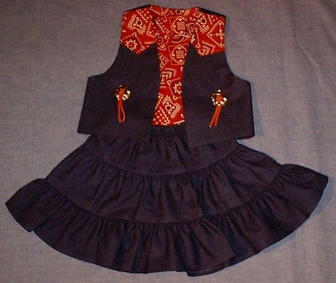 Kid's Western Wear For Baby, Toddler & Children - Kid's Western Apparel - Cowgirl Clothes - Girl's Western - Denim Prairie Skirt & Vest Set