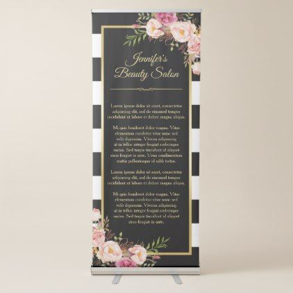 Modern Vintage Floral Black White Stripes Backdrop Retractable Banner - makeup artist gifts style stylish unique custom stylist