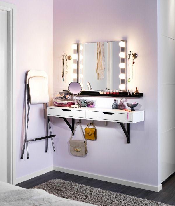 ekby alex valter vanity table 43 95 ribba rack for nailpolish 9 99 ledsjo led wandlamp. Black Bedroom Furniture Sets. Home Design Ideas