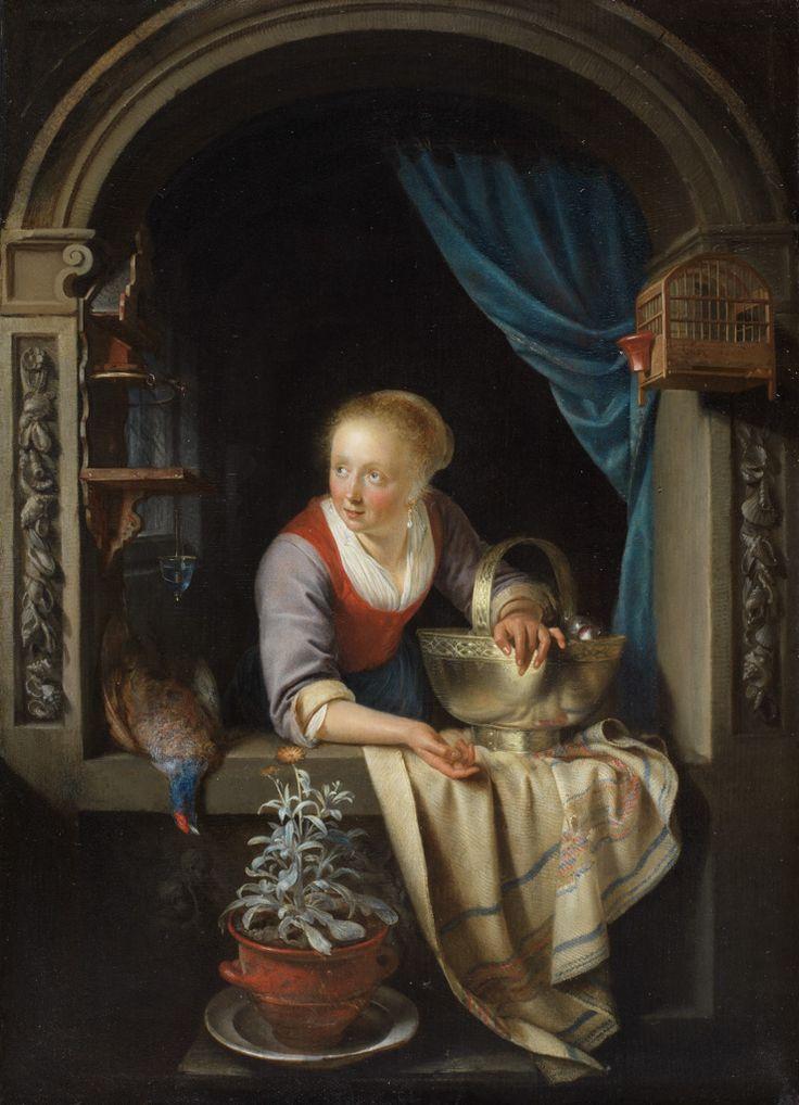 Gerrit Dou: Jonge vrouw in een venster met een koperen schaal met appels en een dode fazant. 1663. Fitzwilliam Museum, Cambridge