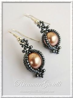 Free pattern Schema for caged pearl earring #Seed #Bead #Tutorials