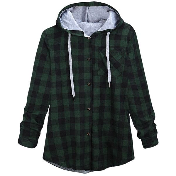 Womens Long Sleeve Single-breasted Plaid Hoodie Green ($26) ❤ liked on Polyvore featuring tops, hoodies, jackets, shirts, flannel, green, long sleeve plaid shirt, long-sleeve shirt, long sleeve shirts and green long sleeve shirt