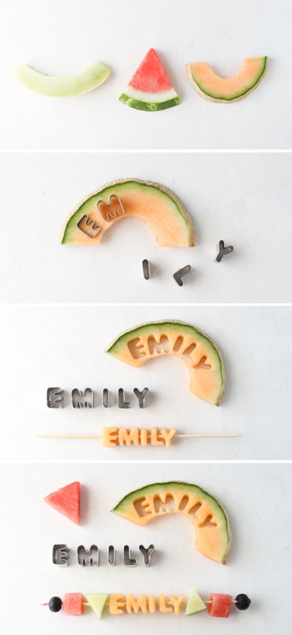 Name fruit kebob DIY: Ideas, Food On A Sticks For Kids, Birthday Parties, Fruit Kabobs, Fruit Sticks, Fruit Kebabs, Places Cards, Places Sets, Kids Food