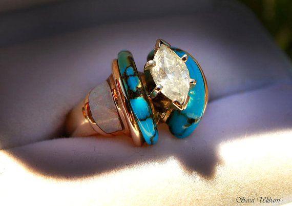 Queen of the Mist 1 Karat Diamond Turquoise White Opal 14k