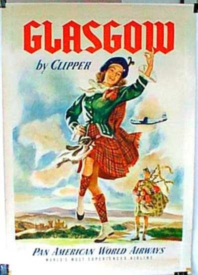 DP Vintage Posters - Original Vintage Pan Am Travel Poster Glasgow