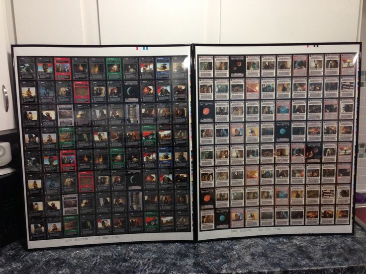 These are Star Wars CCG uncut sheets from the Jabbas Palace set I got on eBay.  These are the light and dark side rares sheets that I custom framed since the size of the sheets was so odd.  I ended up getting a 27x40 poster frame and very carefully used an xacto knife to cut the plexi and removable sides to shape.  Hanging is always medium size velcro command strips in each corner which stay on the back of the frames so I can easily move them if necessary.