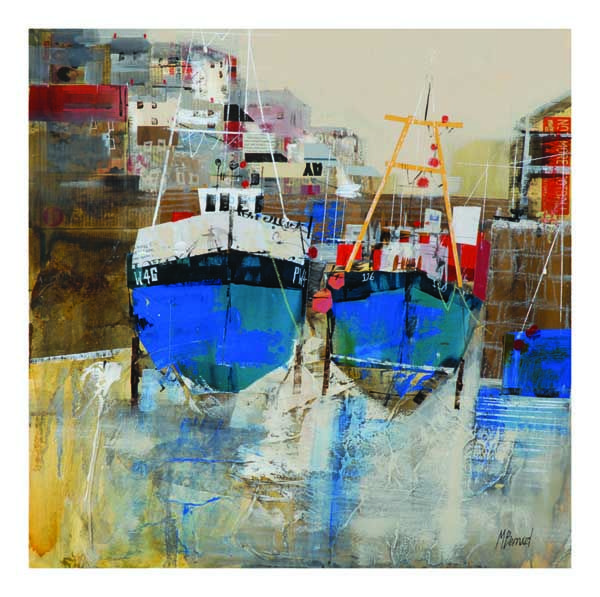 Mike Barnard Low Tide Mevagissey, Mixed Media, 24 x 24 inches