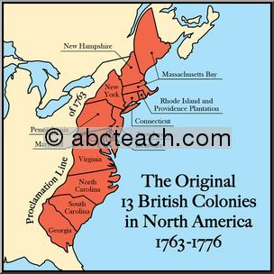 13 british colonies in north america | color clip art illustration ...