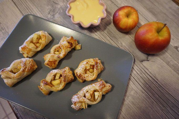 schnelle warme Apfel Zimt Taschen aus Blaetterteig mit nur 5 Zutaten #blätterteig #apfeltasche #nachtisch #5zutaten #schnellrezepte