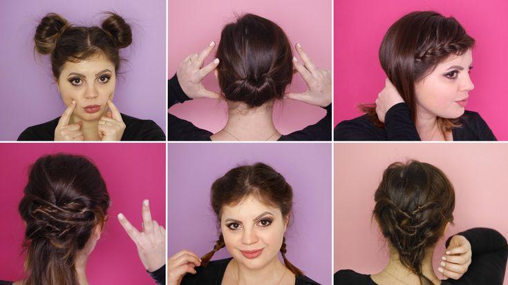 6 acconciature FACILI per capelli CORTI - YouTube