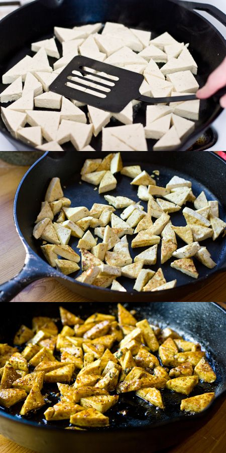 10 minutes of dry frying. Using a spatula, press the tofu. The liquid will squeeze out and boil away, and the tofu will begin to turn golden.