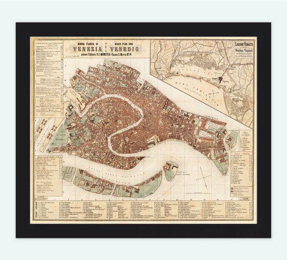 Beautiful Map of Venice Venetia Venezia 1876 by OldCityPrints