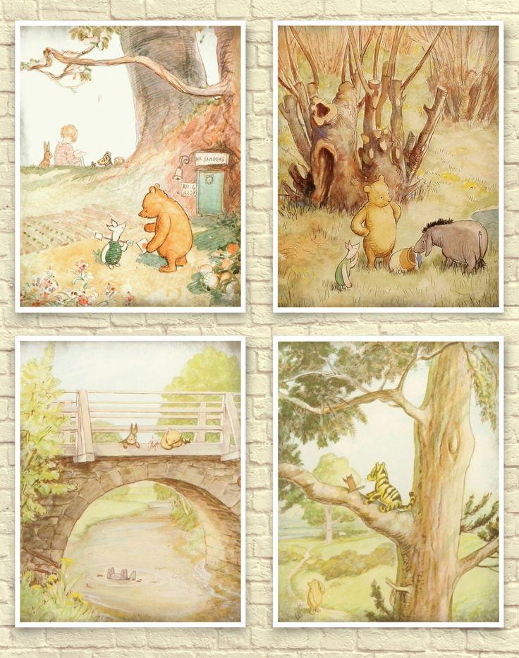 Classic Winnie The Pooh Wall Art, Winnie the Pooh Art Print, Baby Nursery Art, Children's Art, Winnie the Pooh Prints, Classic Pooh Nursery. by CreativeArtandInk on Etsy https://www.etsy.com/listing/386908138/classic-winnie-the-pooh-wall-art-winnie