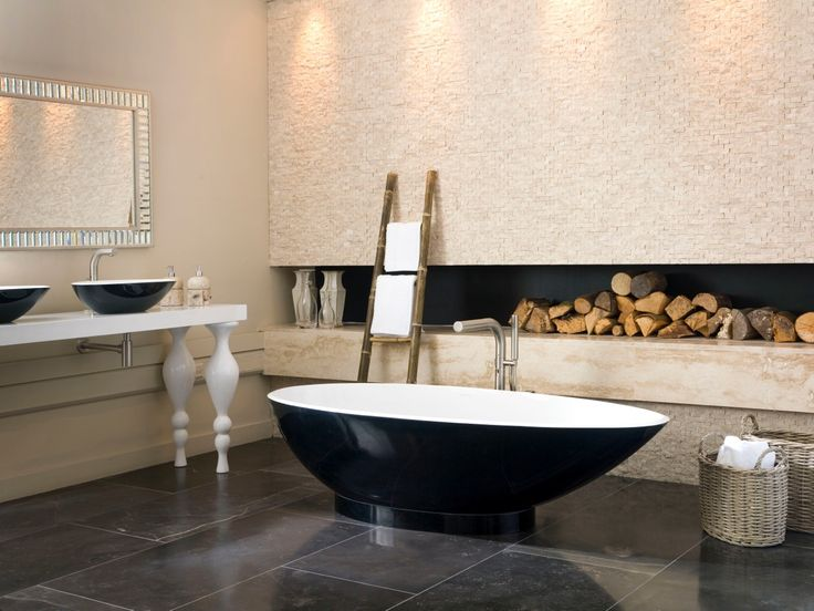 Firewood in a bathroom? What sorcery is this? #bathroom #inspiration #style #modern #classic #freestanding #baths