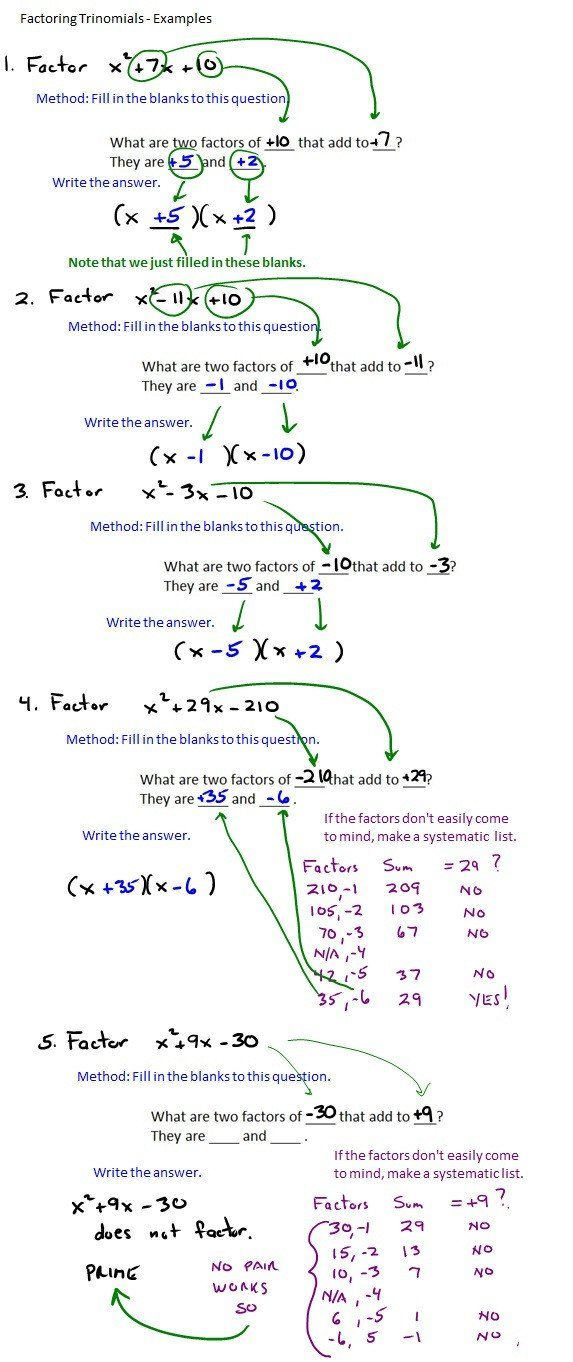 Factoring By Grouping Worksheet Answers The Best Way To Factor Trinomials Quadratics Factor Trinomials Math Methods