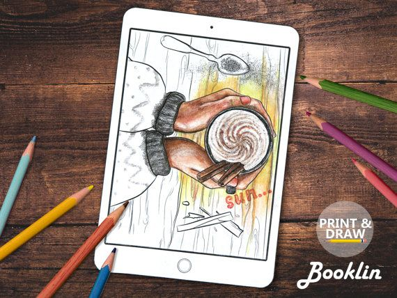 Coffe  Adult Coloring Book Colouring Page For Download от Boooklin