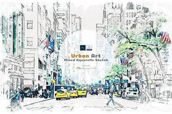 Urban Art Mixed Aquarelle Sketch By Mdxign On Creativemarket