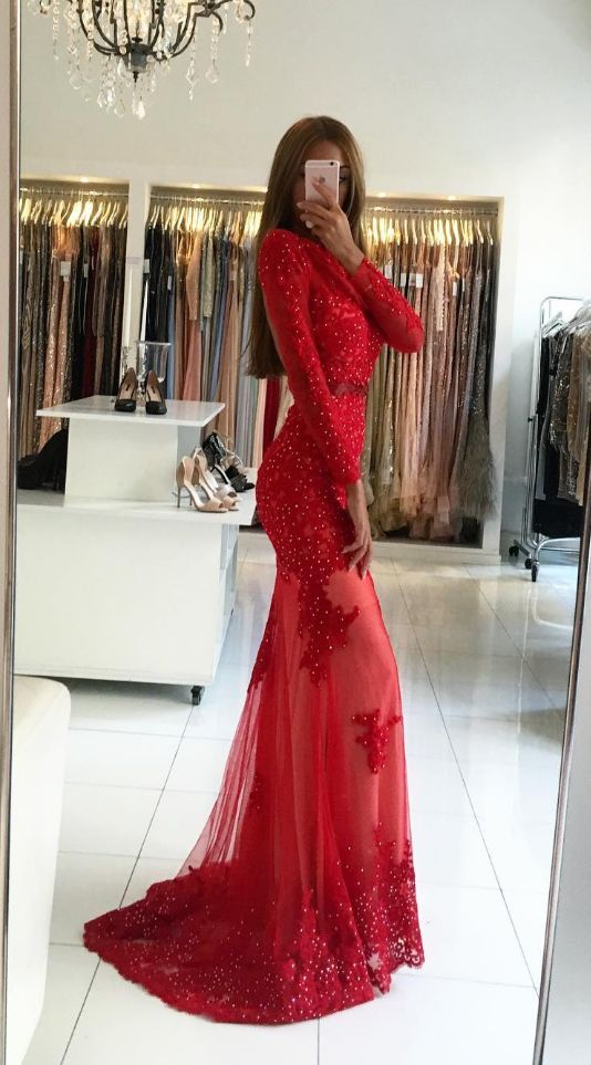 unique red mermaid prom dresses with sleeves, modest long sleeves party dresses with lace, elegant open back evening gowns with pearls #promdress #reddress