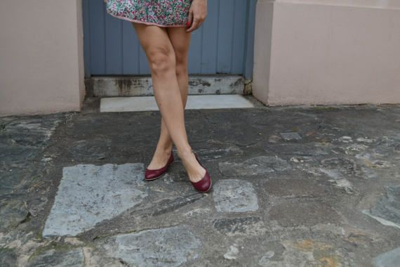 Burgundy red Suede Leather Ballet Flats ballerinas