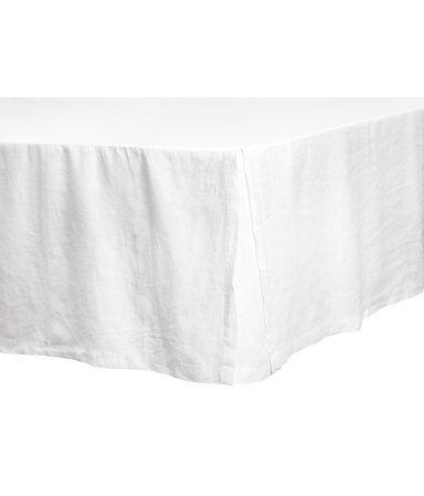 Sängkappa i tvättat linne | Vit | H&M HOME | H&M SE