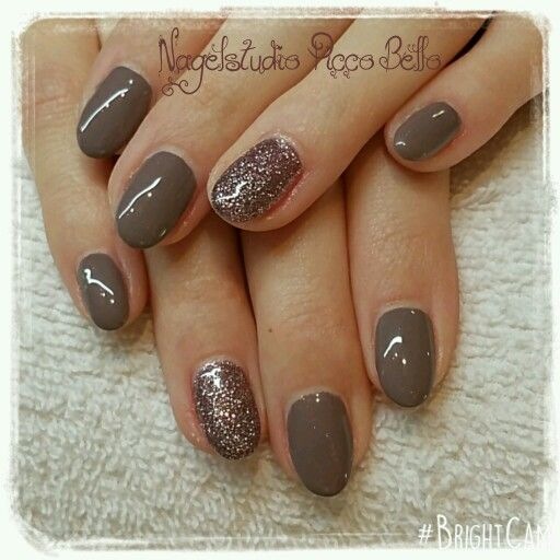 Taupe Nails With Glitter My Nail Designs Pinterest