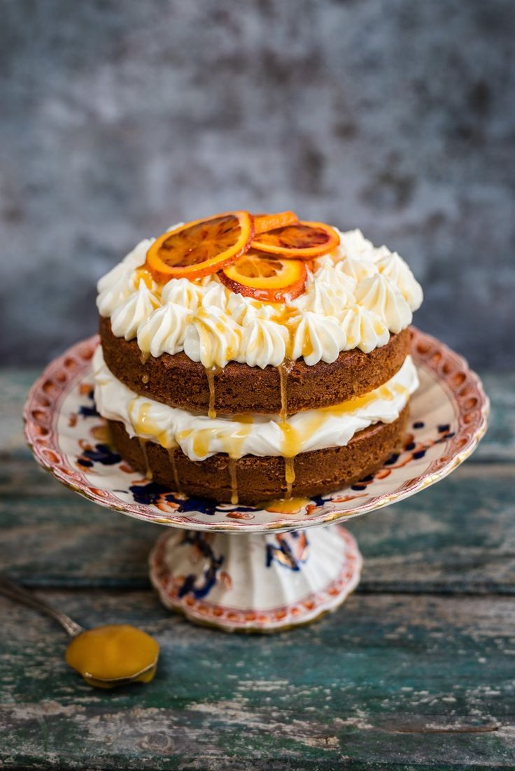 Manuka honey orange pound cake with honeyed cream cheese filling