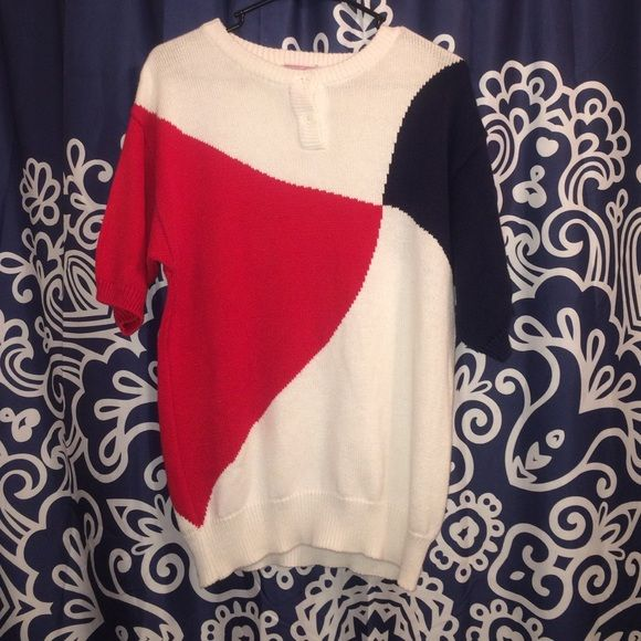 Vintage short sleeve red white and blue sweater! Vintage medium red white and blue sweater. Short sleeve. Great used condition. Vintage collectors look at this! 1980s. Like vintage? Bundle and save. Just ask. Vintage Sweaters