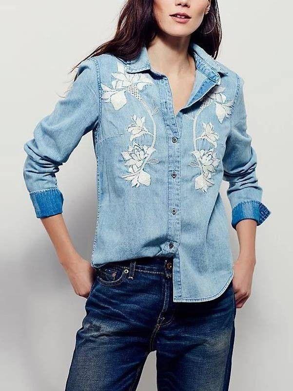 Camisa Feminina Jeans Bordada - Compre Online | DMS Boutique