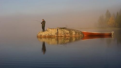 Early fisher on lake Suolijärvi