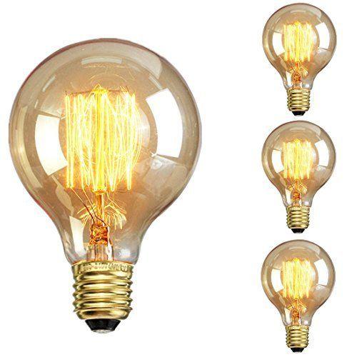 PureLume Edison Vintage Lampe Big-Globe (40W, E27, 220-240V, Handgewickelt) Ideal für Nostalgie und Retro Beleuchtung