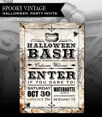 freevintagecreepyhalloweeninvitationtemplates - Free Halloween Invite Templates