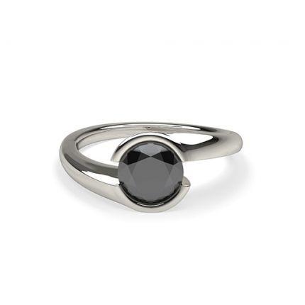 Shop Semi Bezel Setting Plain Engagement Black Diamond Ring Online