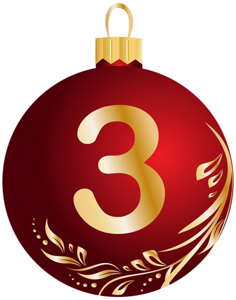 Christmas Ball Number Three Transparent PNG Clip Art Image