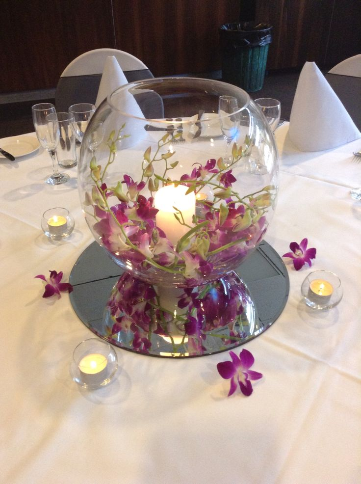Fish bowl centrepieces with candle and fresh or hides.