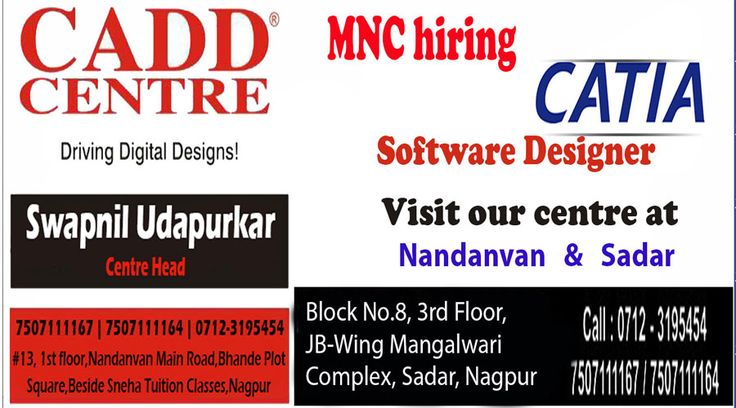 Join #Advanced course in CATIA at #Cadd Centre Nagpur   CADD Centre offers a propelled course in CATIA V5, a main parametric strong demonstrating programming. CATIA accompanies building, outline, and frameworks designing abilities. CATIA V5 course acquaints the client with CATIA V5, one of the world's driving parametric strong demonstrating bundles. This course underlines on the strong displaying methods that improve the profitability and effectiveness of the client.