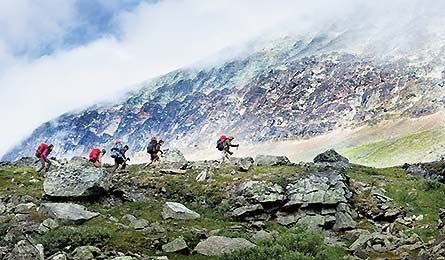 Best Trail Party: Fjallraven Classic, Sweden  Trekkers pass Sinnicohkka (Courtesy of Fjallraven)