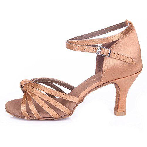 HROYL Zapatos de baile/Zapatos latinos de satén mujeres ES7-F17 – Comprar Gangas