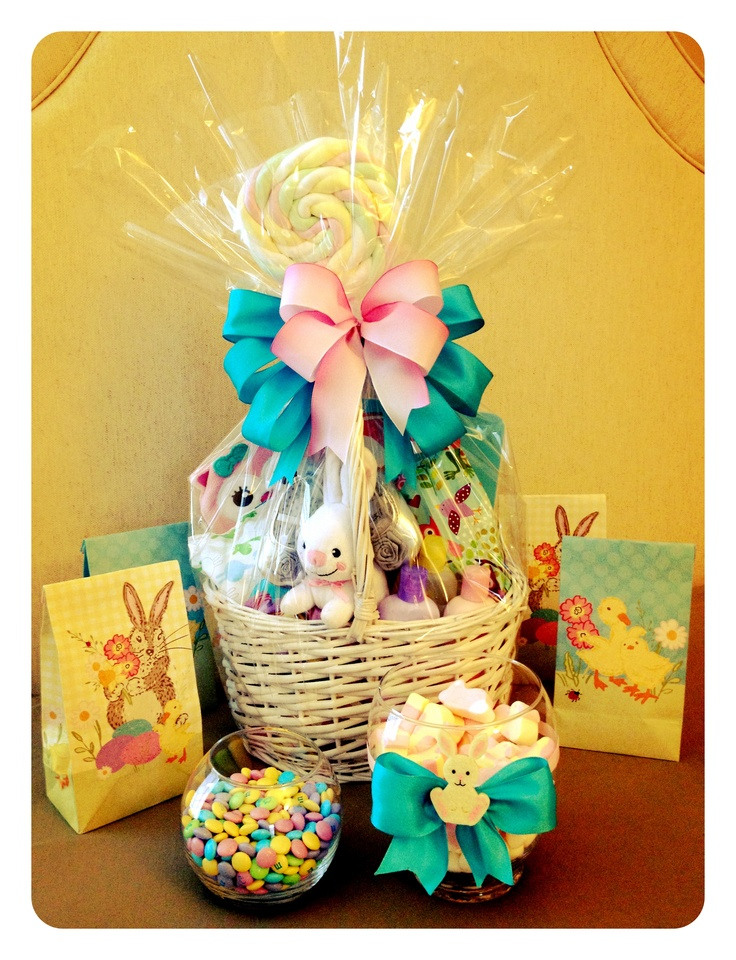 100 best baby easter baskets images on pinterest easter baskets i made this baby gift basket for my friend emily she had her baby negle Image collections