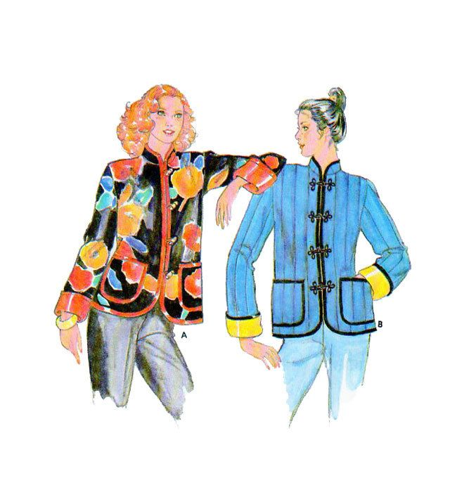 Asian-Oriental Style Jacket Butterick 6929 Size Small (6/8) Mandarin Collar Frog or Toggle Button Closure Turn Back Cuffed Sleeves UNCUT by FindCraftyPatterns on Etsy