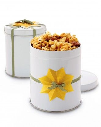Caramel-Almond Popcorn recipe. Cute Christmas gift idea - the packaging is great!
