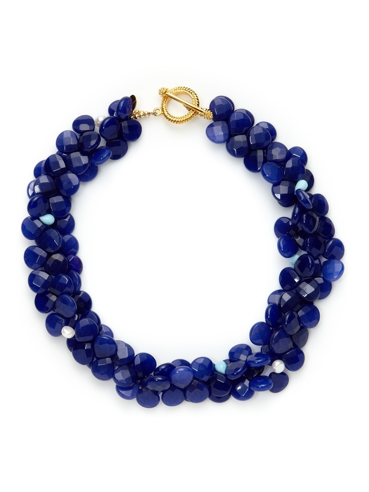 Freshwater Pearl & Blue Quartz Double Strand Necklace by