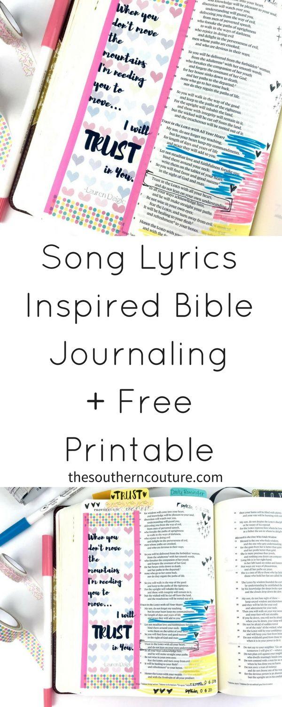 Grab this FREE song lyrics printable for Bible journaling inspired by Lauren…