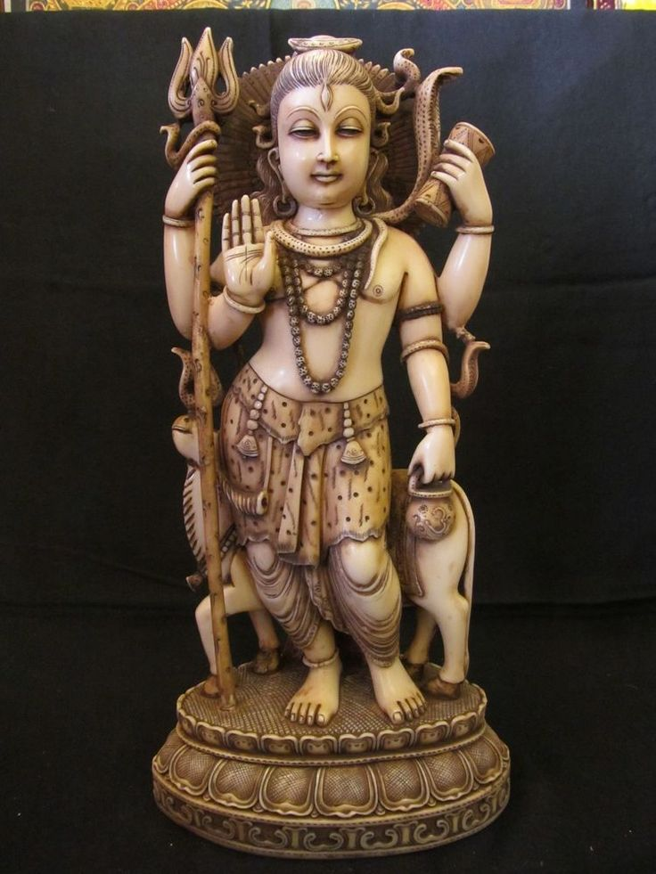 Vintage Look Resin FoxBone Hindu Tribal God Shiva Nandi Ox Statue Figurine 2433
