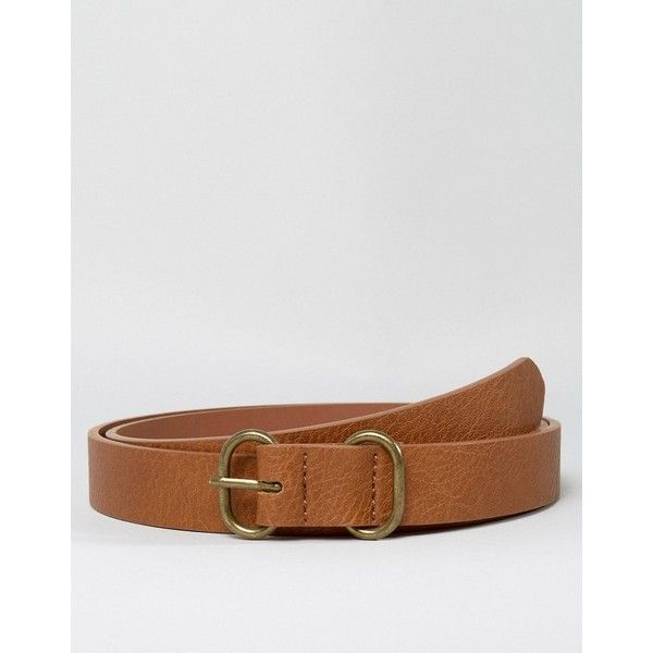 ASOS Skinny Tan Belt With Circular Buckle & Keeper ($9.50) ❤ liked on Polyvore featuring men's fashion, men's accessories, men's belts, tan, mens tan belt and mens adjustable belts