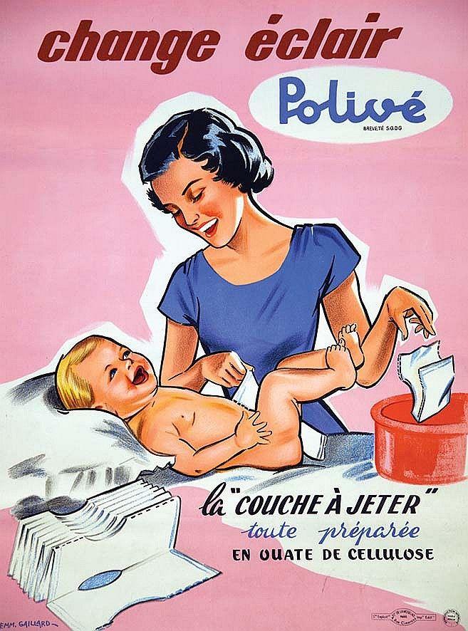 """change éclair Polivé - La """"couche à jeter"""" toute préparée - 1950's - (Emmanuel Gaillard) -"""